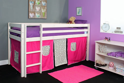 Thuka Hit1 Mid sleeper Bed with Pink and Grey Tent