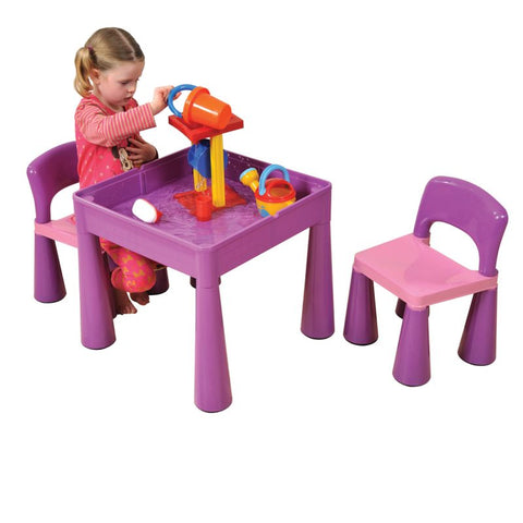 Multipurpose Purple Table and Two Chair Set