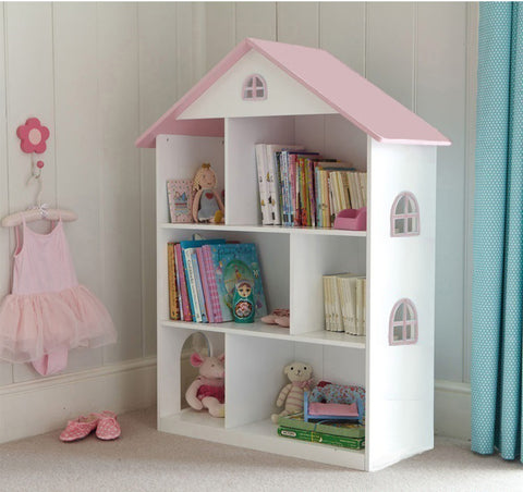 WHITE DOLL HOUSE BOOKCASE WITH PINK ROOF
