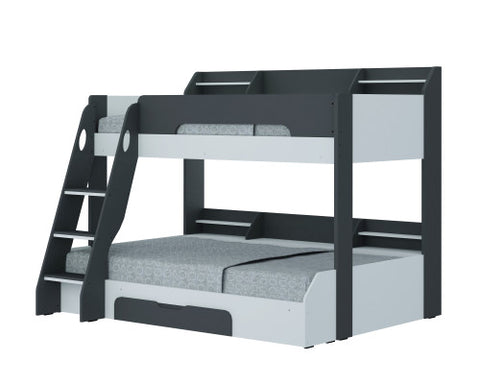 Flair Furnishings Flick Triple Bunk Bed Grey and White
