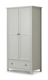 Julian Bowen Maine Dove Grey 2 Door Combination Wardrobe