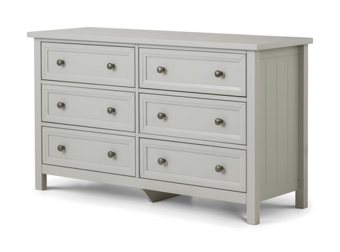Julian Bowen Maine Dove Grey 6 Drawer Wide Chest