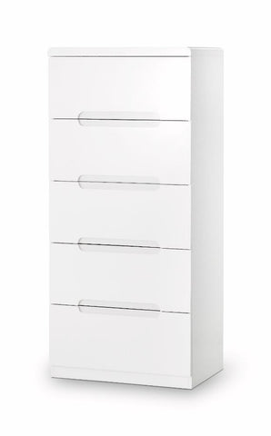Julian Bowen Manhattan White High Gloss 5 draw Narrow Drawer Chest - Childrens Funky Furniture - 1