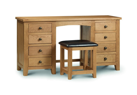 Julian Bowen Marlborough Oak Double Dressing Table And Stool - Childrens Funky Furniture