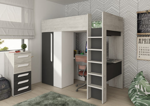 Trasman Mont Black High Sleeper with Desk and Wardrobe