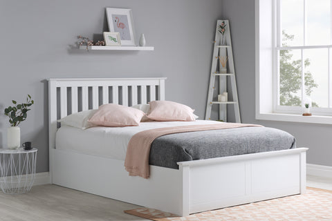 Birlea Phoenix Ottoman Bed in White- Small Double, Double or King size