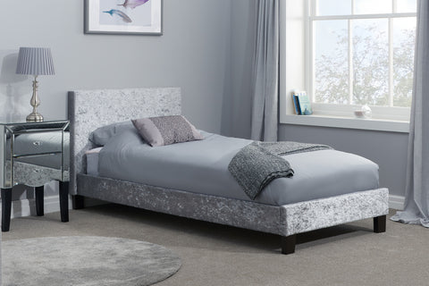 Birlea Berlin Fabric Bed in Steel Crushed Velvet- Single, Small Double, Double, King size
