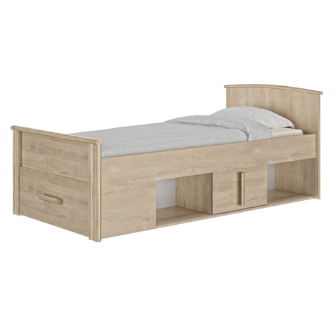 Gami Montana low compact single bed in Helvezia Whitewashed Oak or Blond Oak