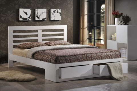 Bretton 4'6 Double Bed In White - Childrens Funky Furniture