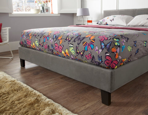 Evelyn Fabric bed in Steel- 5 Sizes Available