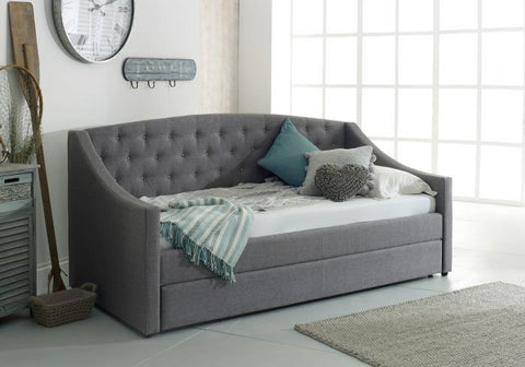 FLAIR FURNISHINGS AURORA FABRIC DAYBED WITH TRUNDLE- Grey