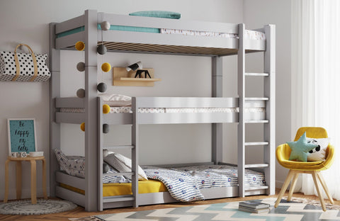 Flair Beds Scandinavia Triple Bunk Bed in White or Grey