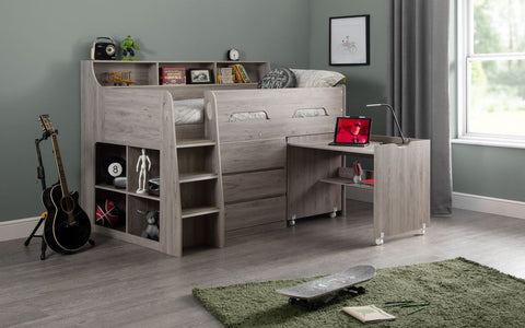 Julian Bowen Jupiter Single Mid Sleeper- White or Grey Oak