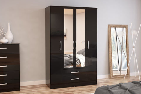 Birlea Lynx 4 Door 2 Drawer Wardrobe with Mirror in Black