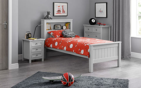 Julian Bowen Maine Single Bookcase Bed Dove Grey or Surf White