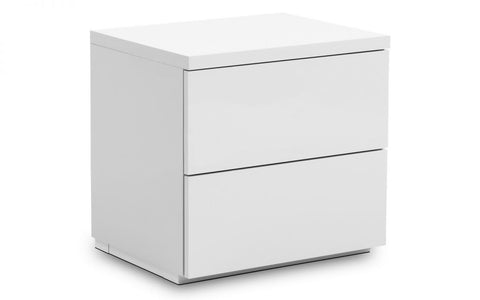 Monaco 2 Drawer Bedside - White High Gloss