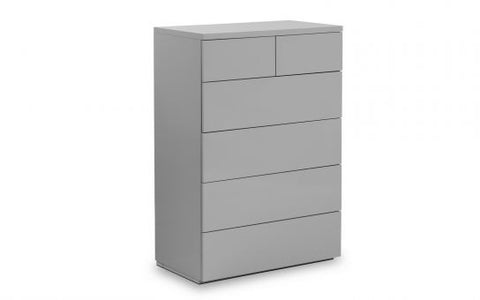 Julian Bowen Monaco 4+2 Drawer Chest - Grey High Gloss