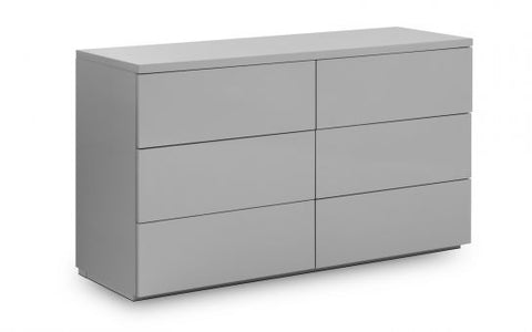 Julian Bowen Monaco Grey Gloss 6 Drawer Chest
