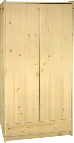 Steens for Kids Tall Wardrobe Natural Pine Lacquer