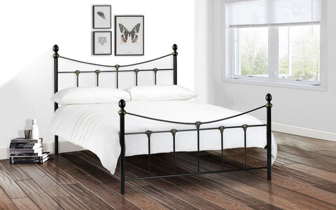 Julian Bowen Rebecca Bed in Stone White or Black Satin