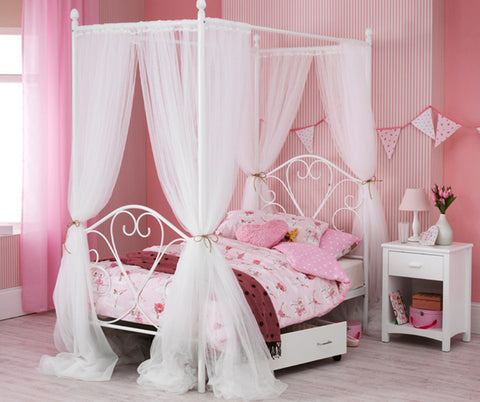 Isabelle White Four Poster Bed - Childrens Funky Furniture
