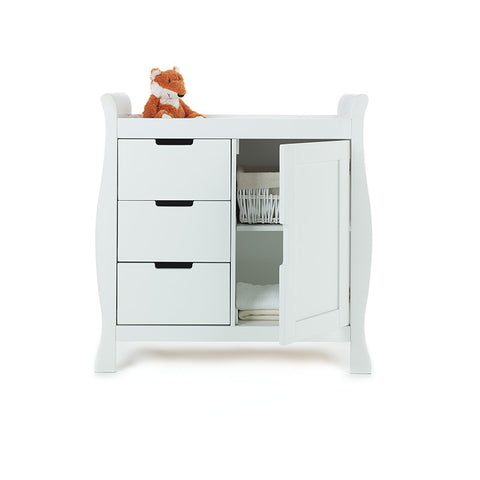 LINCOLN SLEIGH CHANGING UNIT - White / Country Pine / Walnut - Childrens Funky Furniture - 2