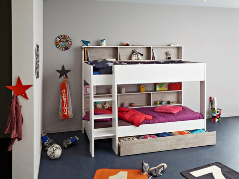 Parisot Tam Tam White and Loft Grey Bunk Bed - Childrens Funky Furniture - 1
