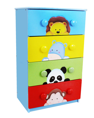 Sunny Safari 4 Drawer 8 Handle Chest - Childrens Funky Furniture