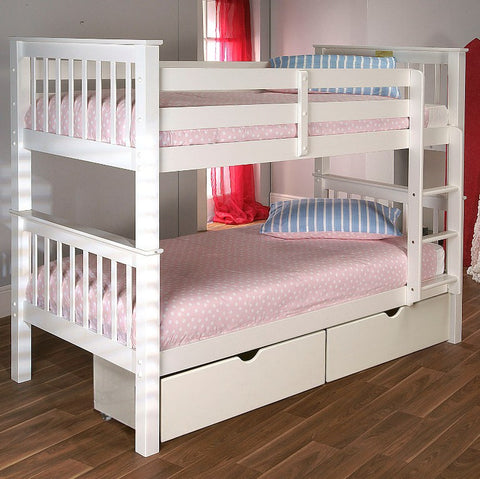 Pavo Bunk Bed In White - Childrens Funky Furniture
