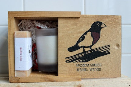 Fresh Flowers Soap and Candle in Grosbeak Wooden Box