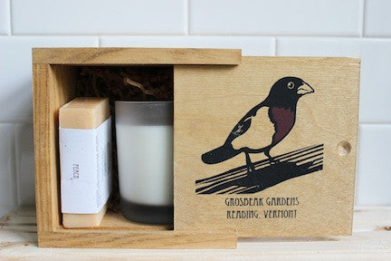 Grosbeak Wooden Box with Shea Butter Soap & Soy Wax Candle