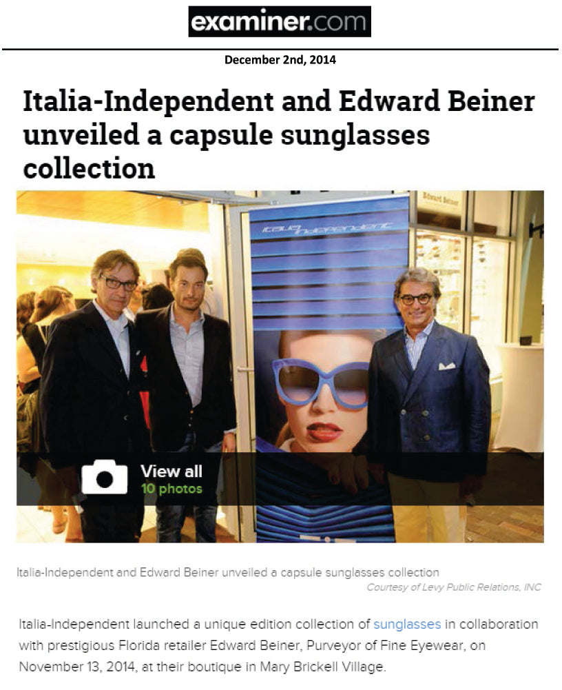 Italia-Independent and Edward Beiner unveiled a capsule sunglasses collection
