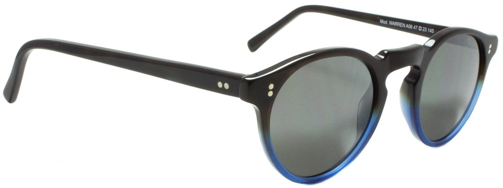 Edward Beiner Collection Warren Sun 999-A06 Chocolate / Blue. Designer sunglasses handmade in Italy available exclusively at Edward Beiner fine eyewear boutiques. Side view.