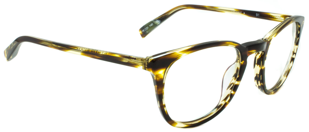 Edward Beiner Collection Laurent-999-91-Tortoise . Side view. Designer eyewear. Handmade in Germany available exclusively at Edward Beiner Boutiques.