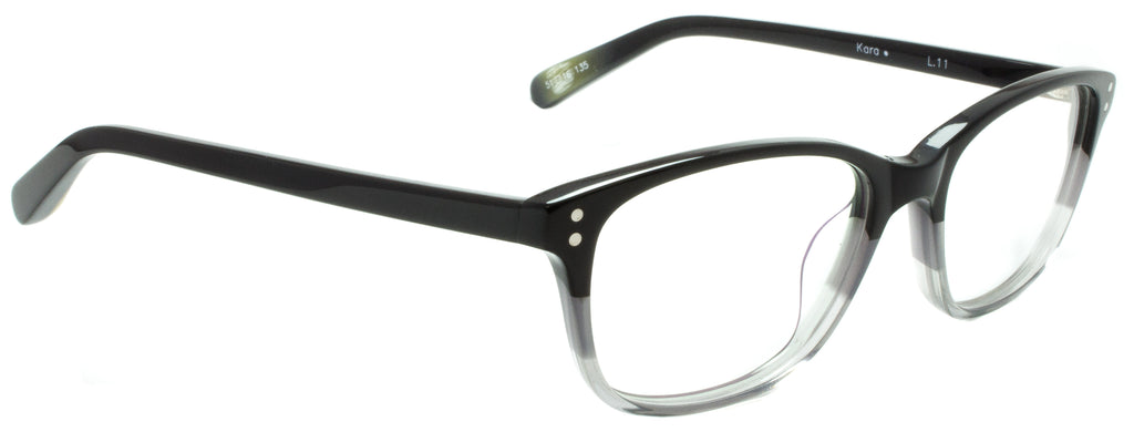 Edward Beiner Collection-Kara-999-L11 - Black/ grey. Side view. Designer eyewear available exclusively at Edward Beiner Boutiques.