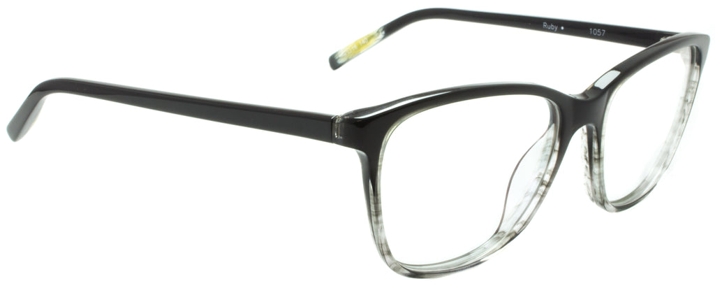 Edward Beiner Collection Ruby-999-1057 - Grey . Designer eyeglasses handmade in Germany in mazzucchelli acetate, available exclusively at Edward Beiner fine eyewear boutiques. Side view.