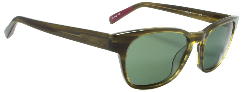 Edward Beiner Collection Jacky-999-04-Olive. Side view. Designer eyewear available exclusively at Edward Beiner Boutiques.