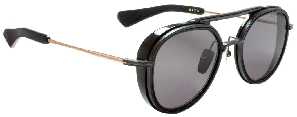Dita-Spacecraft-19017-B-BLK-RGD-52-BLACK/ Rose GOLD . Designer sunglasses handmade in Japanese acetate and titanium, UVA UVB lenses, available exclusively at Edward Beiner fine eyewear boutiques. Side view.