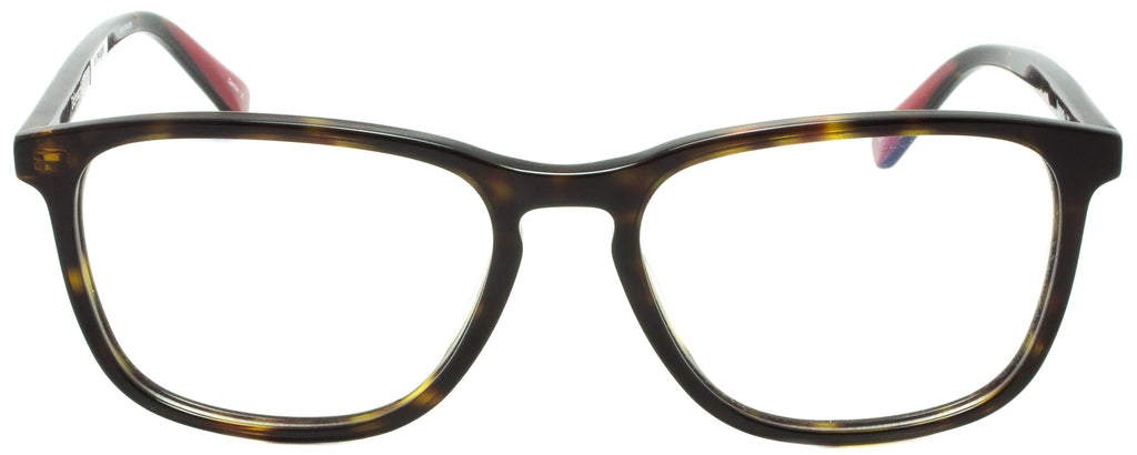 Edward Beiner Collection-Raymond-999-502 - Havana Tortoise . Side view. Handmade in Germany. Designer eyeglasses with clip on sunglasses available exclusively at Edward Beiner Boutiques.