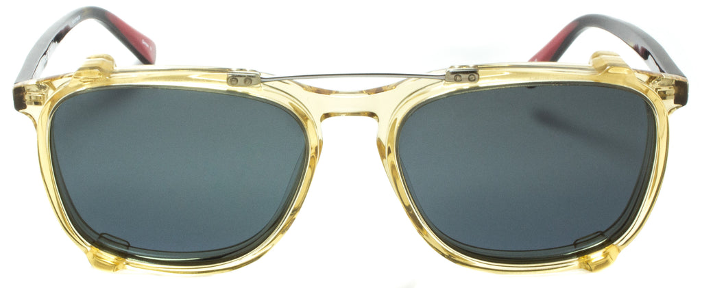 Edward Beiner Collection-Raymond-999-510 - Tortoise / Champagne . Front view. Handmade in Germany. Designer eyeglasses with clip on sunglasses available exclusively at Edward Beiner Boutiques.