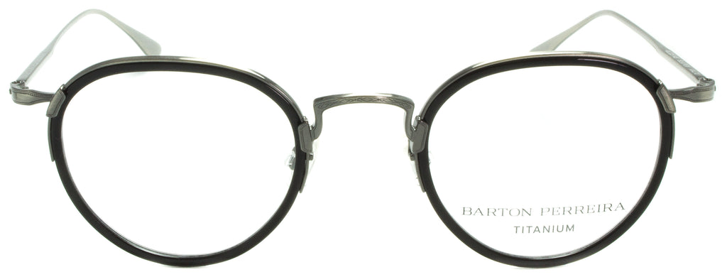 Barton Perreira-Prouve-MDT/SIL- . Front view. Designer eyeglasses with clip on sunglasses removed, available exclusively at Edward Beiner Boutiques.