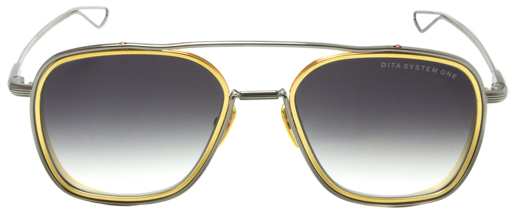 Dita System One-DTS103-53-01-Silver/ Gold. Designer sunglasses in titanium, available exclusively at Edward Beiner fine eyewear boutiques. Front view.