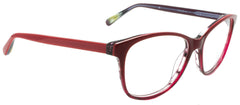 Edward Beiner Collection-Odette-999-1010 - Burgandy . Side view. Handmade in Germany. Designer eyeglasses available exclusively at Edward Beiner Boutiques.