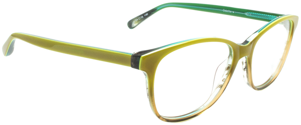 Edward Beiner Collection-Odette-999-1011 - Yellow . Side view. Handmade in Germany. Designer eyeglasses available exclusively at Edward Beiner Boutiques.
