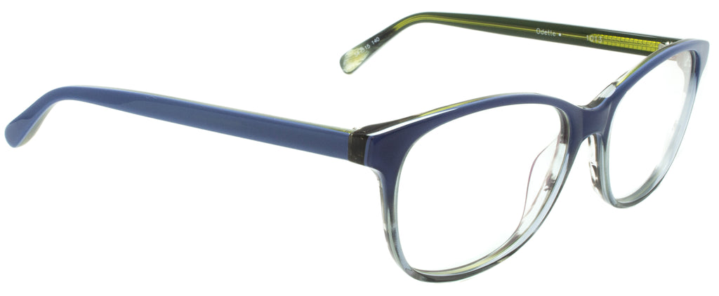 Edward Beiner Collection-Odette-999-1013 - Blue  . Side view. Handmade <span>in Germany</span>. Designer eyeglasses available exclusively at Edward Beiner Boutiques.