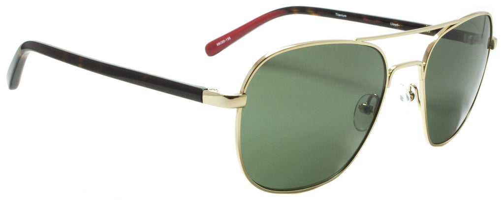 Edward Beiner Collection-Lloyd-999-603 - Tortoise & Gold Titanium, polarized. Side view. Designer sunglasses. Handmade in Japan available exclusively at Edward Beiner Boutiques.