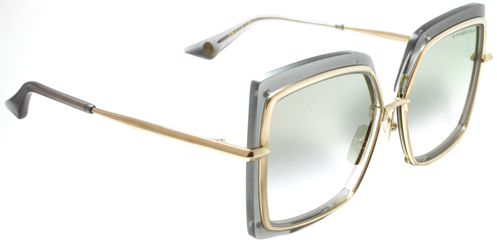 Dita Narcussus-DTS503-58-03-Gold/ Grey Spektre Montana-MO02DFT-Gold  Side view. Dita's unique hex screw hinges. Designer sunglasses available at Edward Beiner Boutiques.
