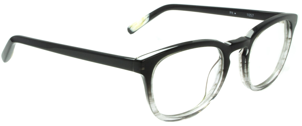 Edward Beiner Collection-Pit-999-1057 - Grey . Side view. Designer eyeglasses handmade in Germany. Available exclusively at Edward Beiner Boutiques.