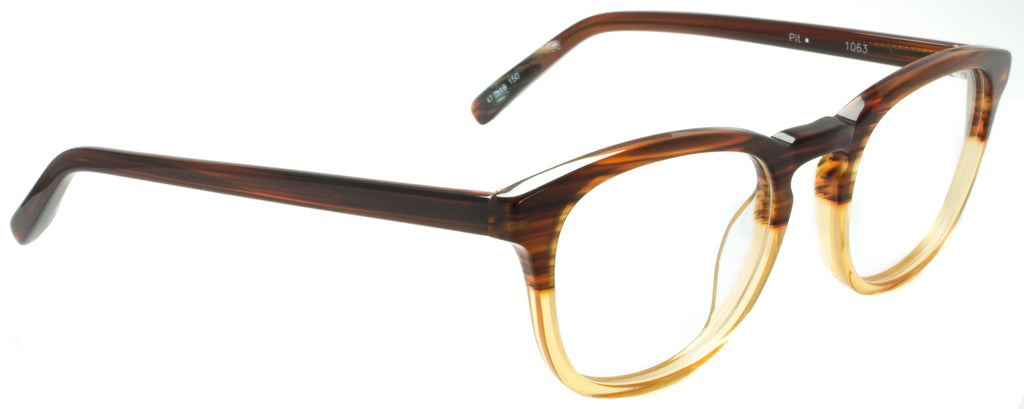 Edward Beiner Collection-Pit-999-1063 - Tortoise . Side view. Designer eyeglasses handmade in Germany. Available exclusively at Edward Beiner Boutiques.