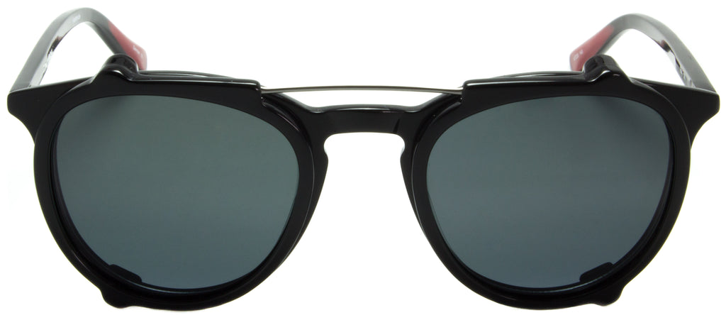 Edward Beiner Collection-Ray-999-501 - Black . Front view. Handmade in Germany. Designer eyeglasses with clip on sunglasses available exclusively at Edward Beiner Boutiques.